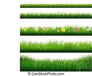 frontières, herbe, ensemble