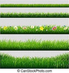 frontières, herbe, ensemble, transparent, fond