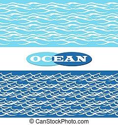 frontières, océan, seamless, vagues