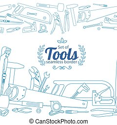 frontières, réparation, outils, horizontal, seamless