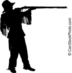Frontiersman silhouette - Young man shooting a black powder...