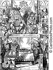 Frontispiece: The King and Queen inspecting the tarts. Alice in Wonderland.