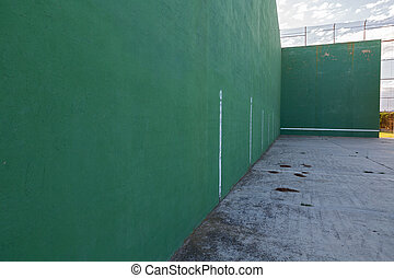 Fronton court - Wide angle view of wall and Fronton court