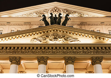 fronton of Bolshoi Theatre in Moscow in night - fronton of...