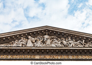 fronton of pantheon, Paris - decoration of pediment of...