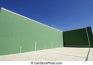 fronton - traditional view of Spanish fronton with blue sky