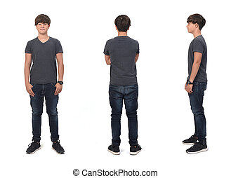front,side and back view of same teenage boy with on white background