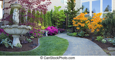 Frontyard Landscaping with Paver Walkway - Frontyard...