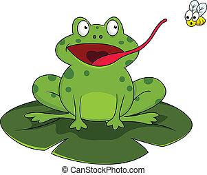 frosch, mit, fliegen