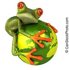 frosch, schützt, welt