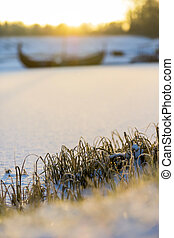 Frost grass by the river at sunrise