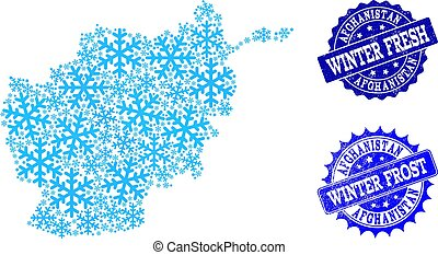 Frost Map of Afghanistan and Winter Fresh and Frost Grunge Stamps