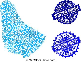 Frost Map of Barbados and Winter Fresh and Frost Grunge Stamps