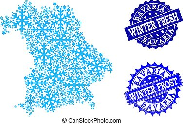 Frost Map of Bavaria State and Winter Fresh and Frost Grunge Stamps