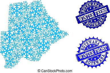 Frost Map of Botswana and Winter Fresh and Frost Grunge Stamps