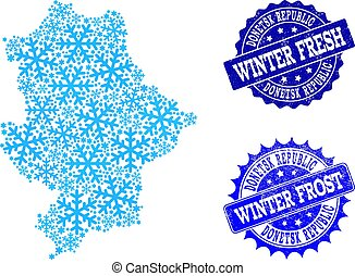 Frost Map of Donetsk Republic and Winter Fresh and Frost Grunge Stamps