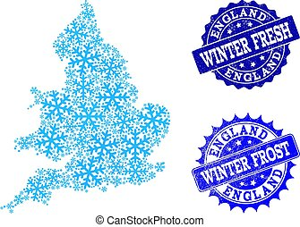 Frost Map of England and Winter Fresh and Frost Grunge Stamps