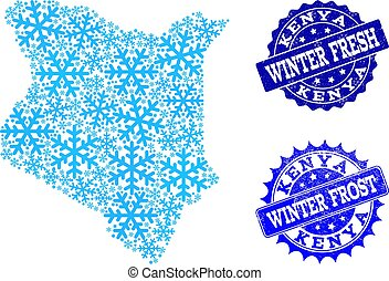 Frost Map of Kenya and Winter Fresh and Frost Grunge Stamps