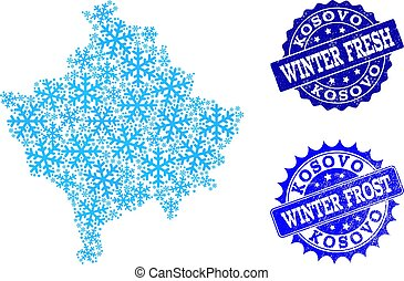 Frost Map of Kosovo and Winter Fresh and Frost Grunge Stamps