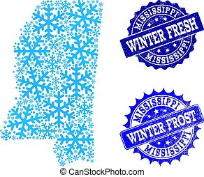 Frost Map of Mississippi State and Winter Fresh and Frost Grunge Stamps