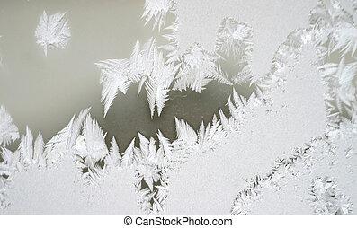frost on window 3 - Newly formed frost appears on a window ...