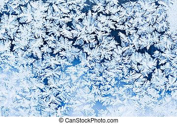 Beautiful pattern of frost on winter window