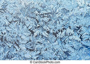 Frost pattern - Beautiful pattern of frost on winter window