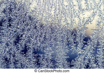 Frost patterns on a window in the winter