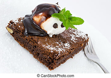 frosted brownies with ice cream