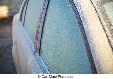 frosted car, shallow depth of field