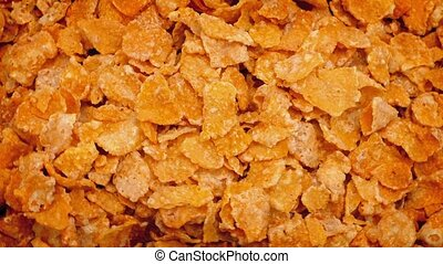 Frosted Cereal Flakes Rotating - Overhead shot of pile of...