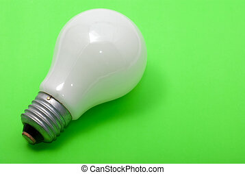 frosted electricity bulb on green background