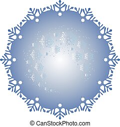 Frosty ball covered with a pattern of frost in the form of blizzards. EPS vector illustratio