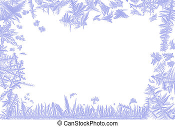 Frosty border - Border frame made of real ice flowers of...