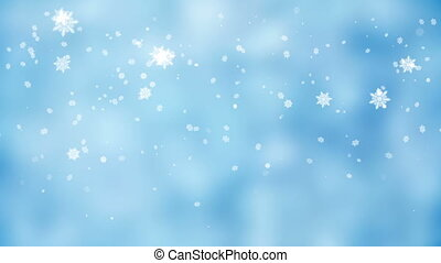 Frosty Christmas background with snowflakes gently falling,...
