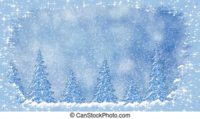 Frosty Christmas pine tree brunches frame with stars and snowflakes, pine trees at snowfall, frosty landscape, winter snow scene