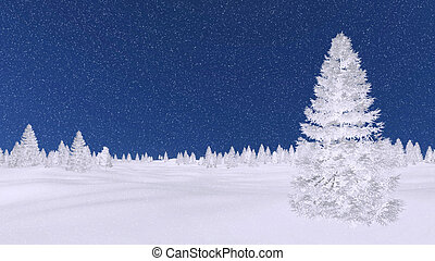 Frosty fir trees at snowfall winter night - Decorative...