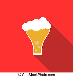 Frosty glass of beer icon, flat style