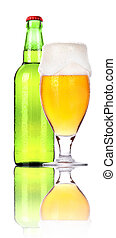 Frosty glass of beer with bottle isolated