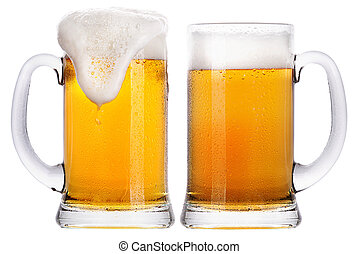 Frosty glass of light beer set isolated on a white...