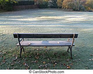 Frosty Morning - Frosty morning,park bench