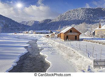 Frosty morning in the mountain village. Iltsi village,...