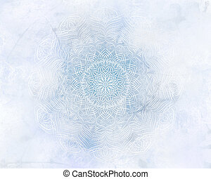Frosty mystic abstract mandala blue background.