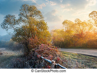 frosty november countryside at sunrise. unusual weather with...