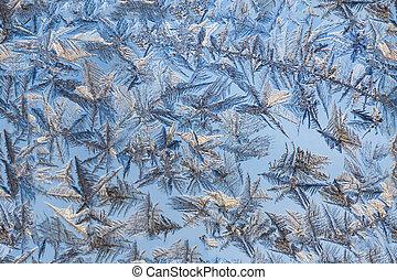 frosty pattern on blue glass seamless