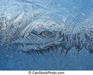 Frosty pattern on pane - Ice on pane - beautiful frosty...