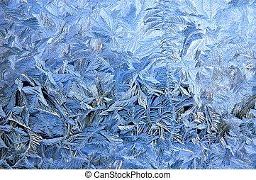 Frosty pattern on window glass surface