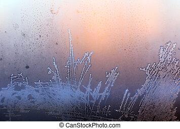 Frosty pattern - Frosty natural pattern on winter window