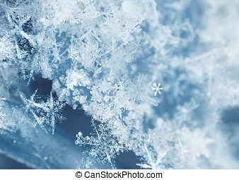 Frosty snow flakes - Frosty ice crystals on newly fallen...