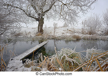Frosty winter trees and footbridge